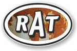 RAT Oval Funny Parody Design With Rusty Metal Motif Vinyl Car sticker decal 120x77mm